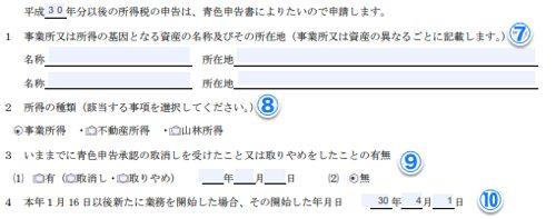 青色申告承認申請書②